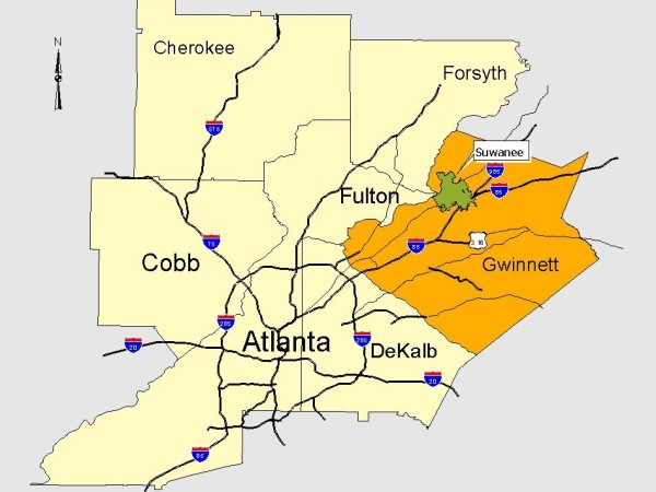 Map Of Atlanta North Counties-City Of Suwanee GA